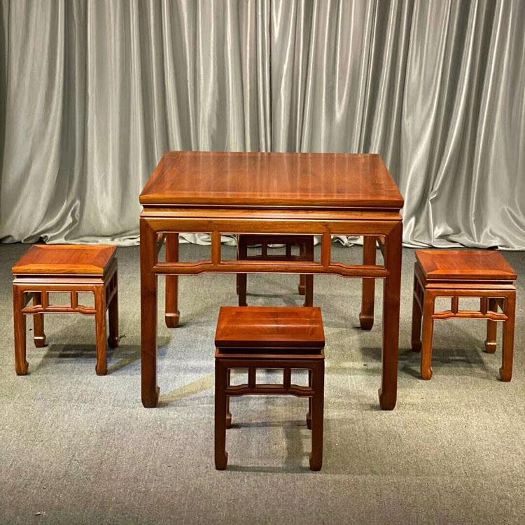 缅甸花梨(大果紫檀)休闲桌五件套
