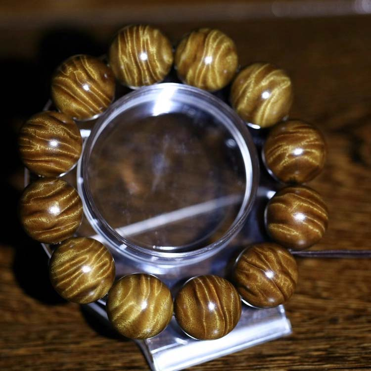 金丝楠枯木老料珍藏级龙胆纹2.0 佛珠手串