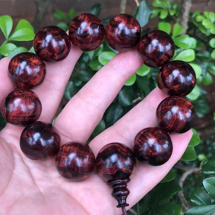 极品海南黄花梨紫油梨手串规格2.0mm重60克