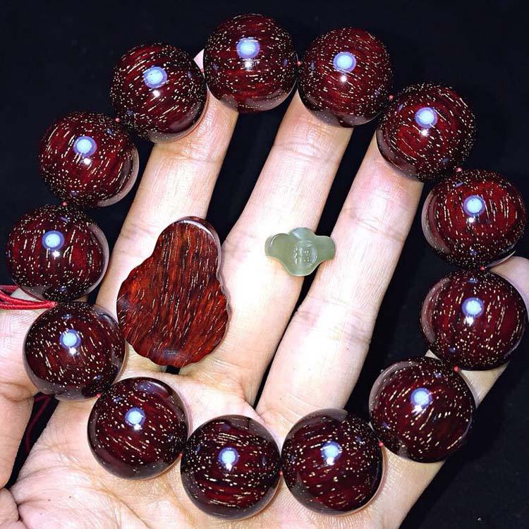 正宗印度小叶紫檀满金星1.8手串